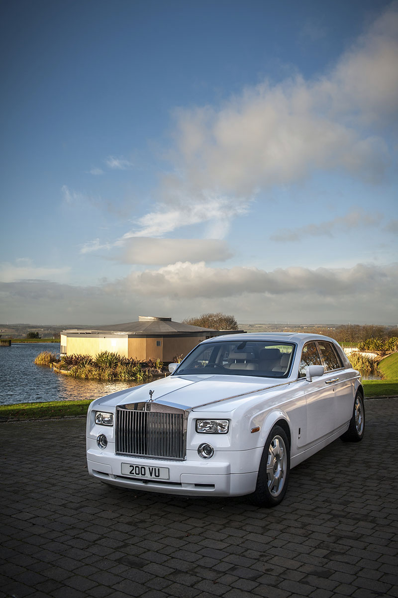 A Rolls Royce Phantom one of the wedding cars in front of the Water Lily at the Vu